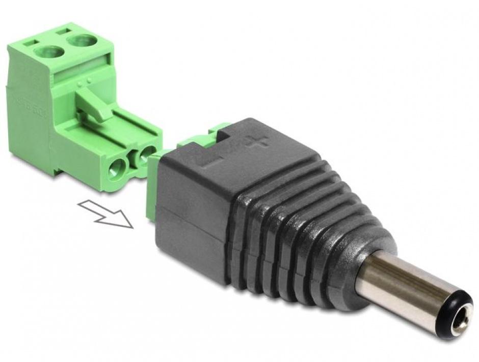 Imagine Adaptor DC 2.1 x 5.5 mm Tata la Bloc Terminal 2 pini, 2 parti, Delock 65422