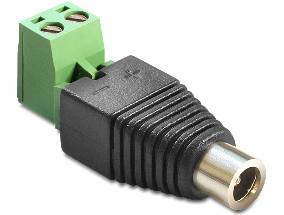 Imagine Adaptor DC 2.1 x 5.5 mm Mama la Bloc Terminal 2 pini, 2 parti, Delock 65423