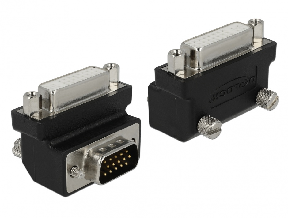 Imagine Adaptor DVI 24+5 pini la VGA 15 pini M-T 90 grade, Delock 65425