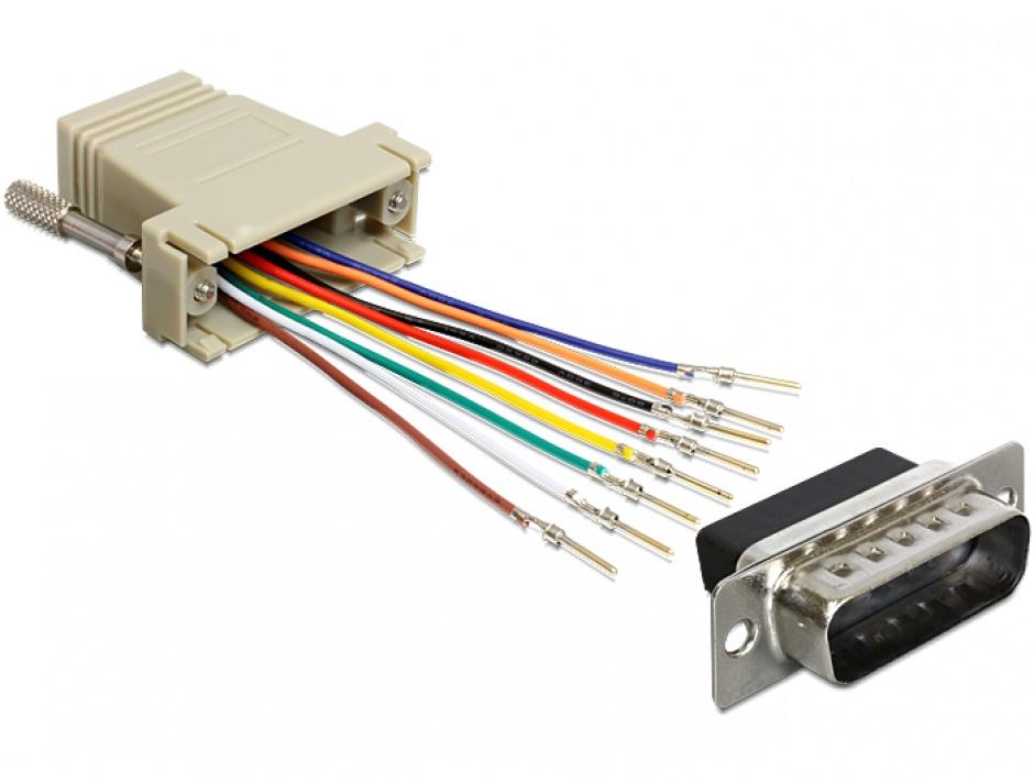 Imagine Adaptor D-Sub 15 pini T la RJ45 M, Delock 65432