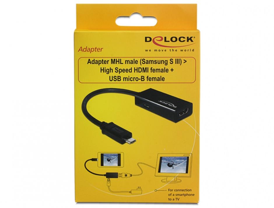 Imagine Adaptor MHL la HDMI + micro USB-B T-M 11 pini (Samsung S3,S4,S5), Delock 65437