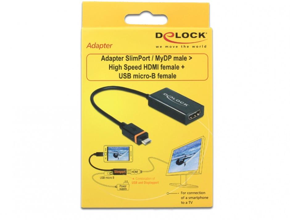 Imagine Adaptor Slimport/MyDP la HDMI + micro USB-B, Delock 65468