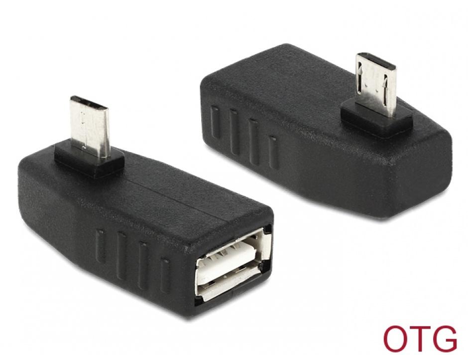 Imagine Adaptor micro USB B la USB 2.0 A T-M OTG unghi 270, Delock 65473