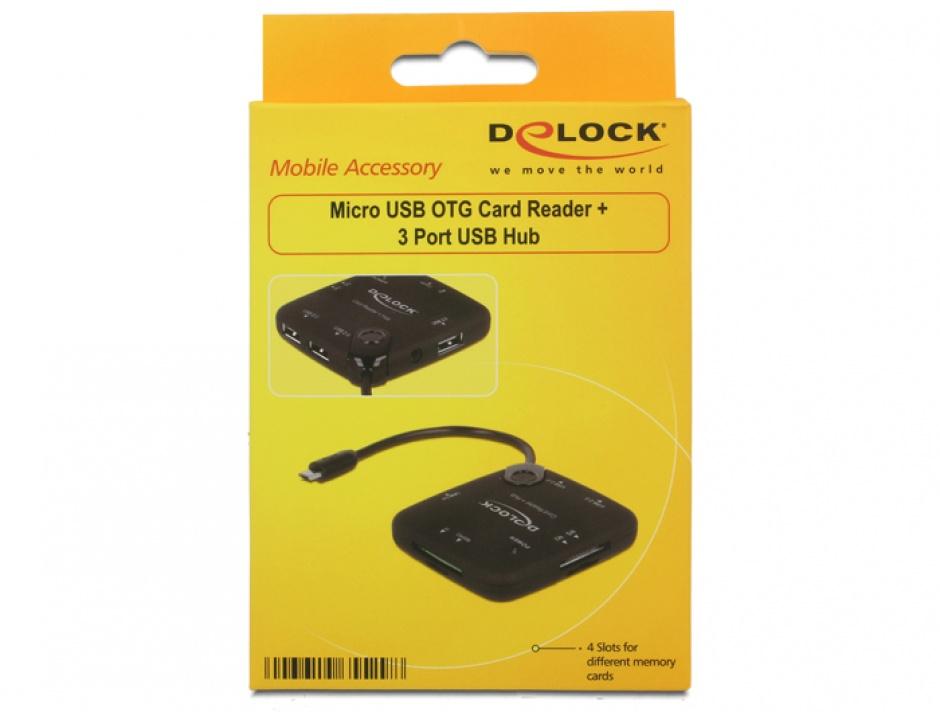 Imagine Cititor de carduri + Hub USB 2.0 OTG, Delock 65529