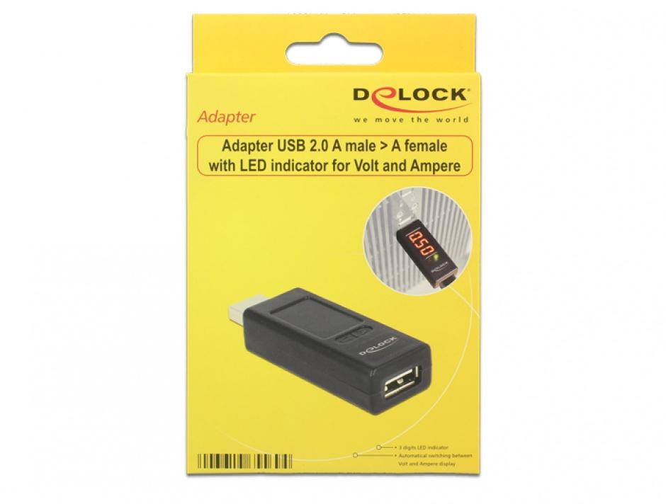 Imagine Adaptor USB 2.0 T-M cu indicator LED pentru voltaj/amperaj, Delock 65569