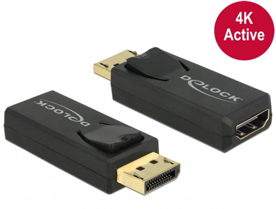 Imagine Adaptor Displayport 1.2 la HDMI T-M 4K Activ negru, Delock 65573