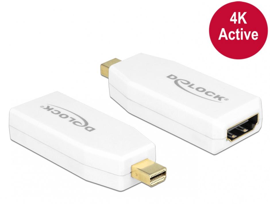 Imagine Adaptor mini Displayport 1.2 la HDMI T-M 4K Activ alb, Delock 65582