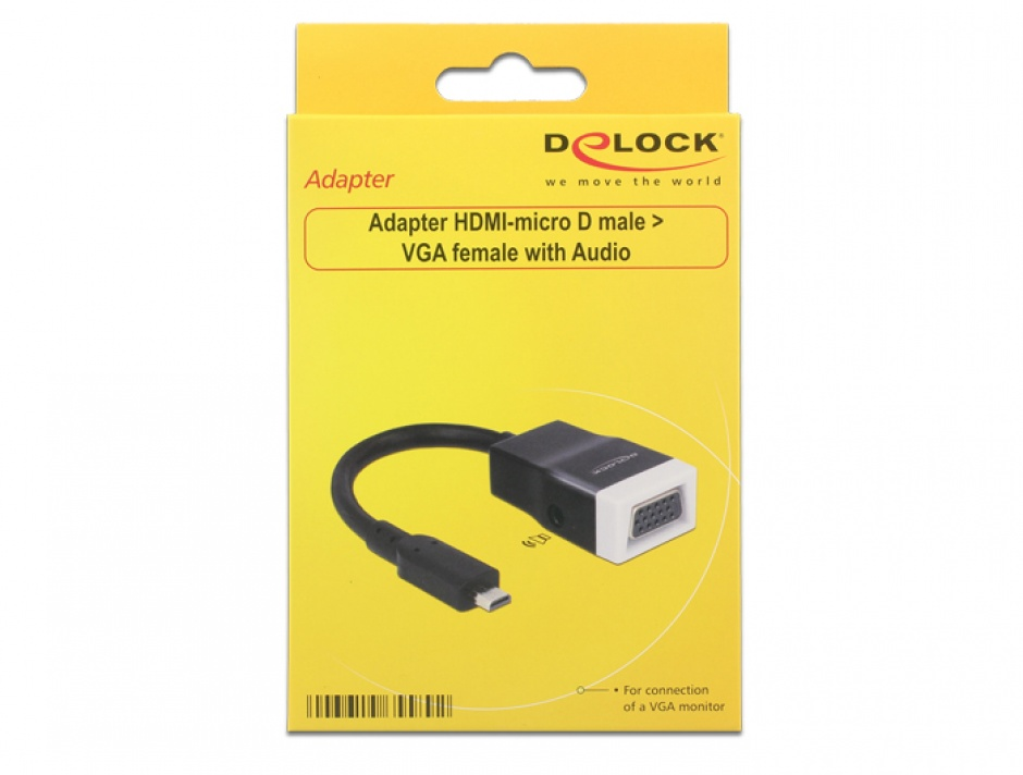 Imagine Adaptor micro HDMI-D la VGA cu Audio Negru T-M 15cm, Delock 65589