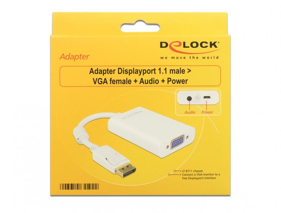 Imagine Adaptor Displayport la VGA 15 pini T-M, Audio + Power, Delock 65592