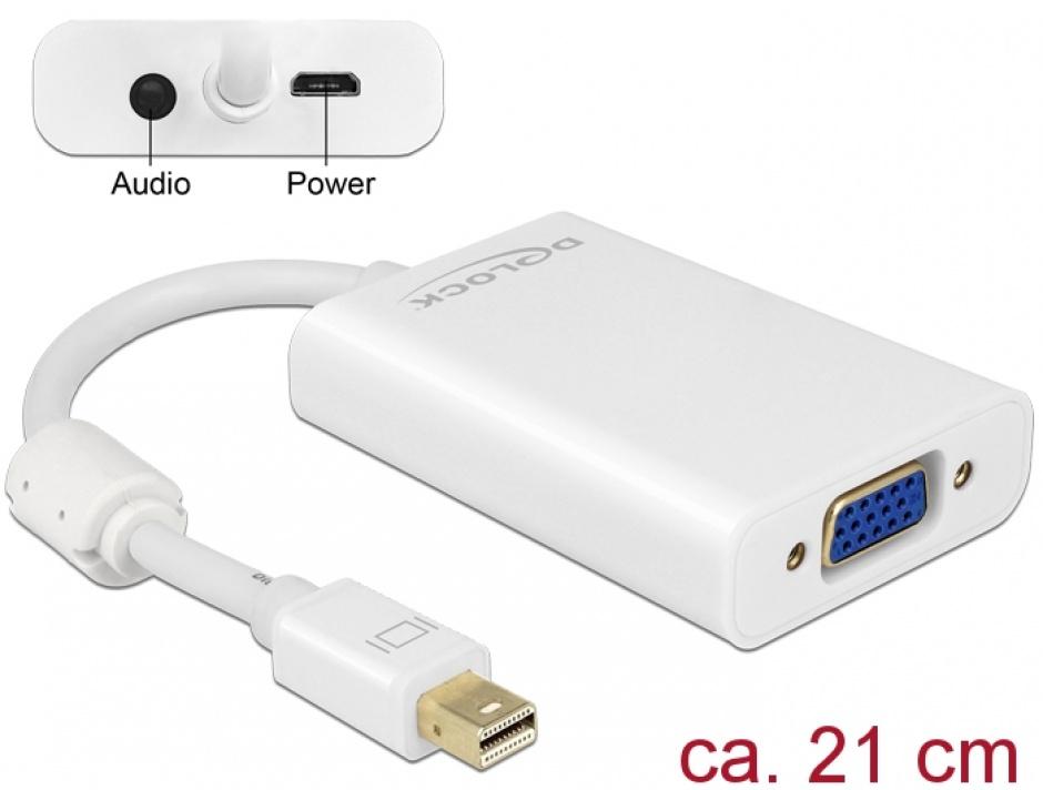 Imagine Adaptor mini Displayport la VGA + Audio + Alimentare Alb T-M, Delock 65599