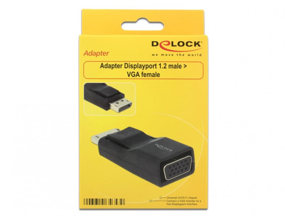 Imagine Adaptor Displayport 1.2 la VGA T-M negru, Delock 65653