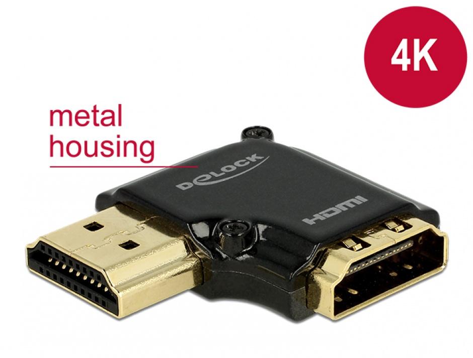 Imagine Adaptor HDMI-A T-M unghi 90 grade stanga 4K carcasa metalica, Delock 65660