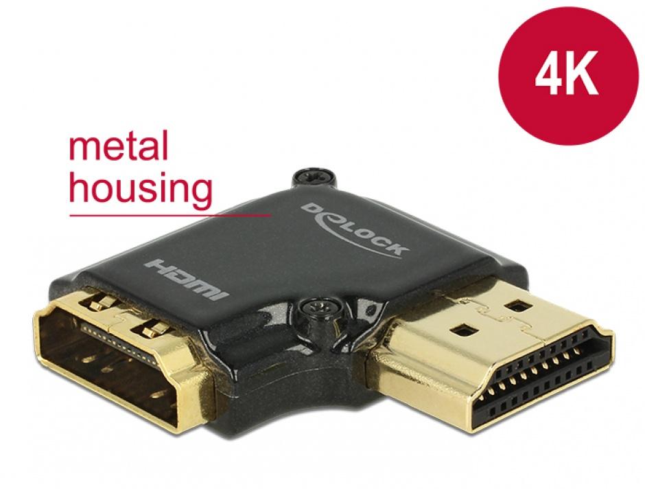 Imagine Adaptor HDMI-A T-M unghi 90 grade dreapta 4K carcasa metalica, Delock 65661