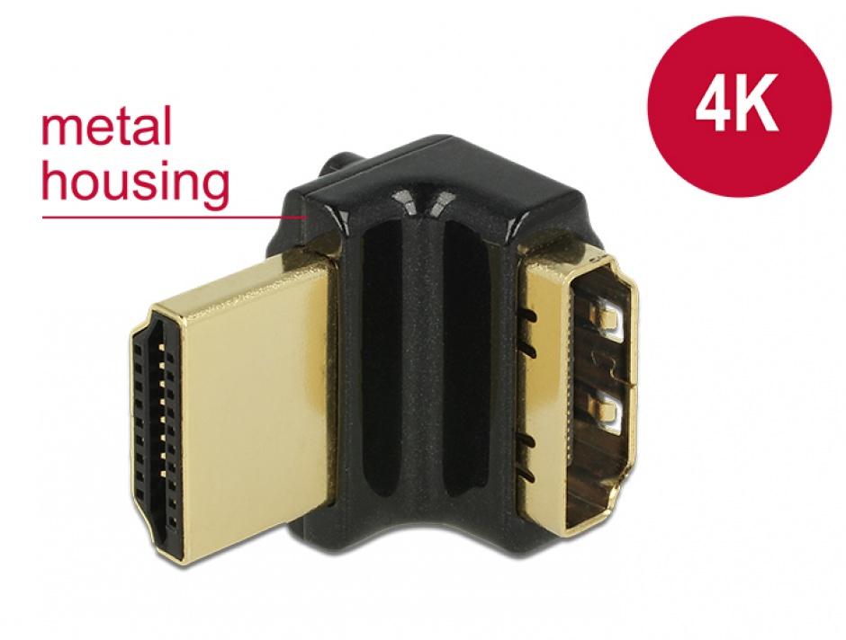 Imagine Adaptor HDMI-A T-M unghi 90 grade sus 4K carcasa metalica, Delock 65663