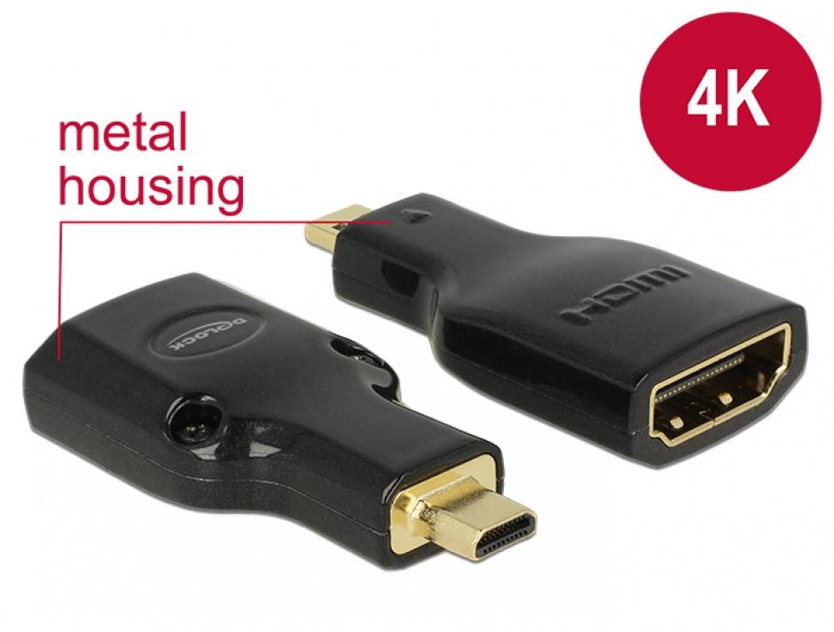 Imagine Adaptor HDMI la micro-D HDMI M-T metalic 4K, Delock 65664