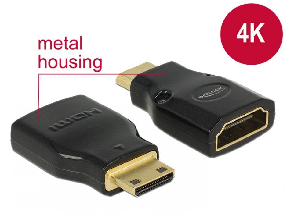 Imagine Adaptor HDMI la mini-C HDMI M-T metalic 4K, Delock 65665