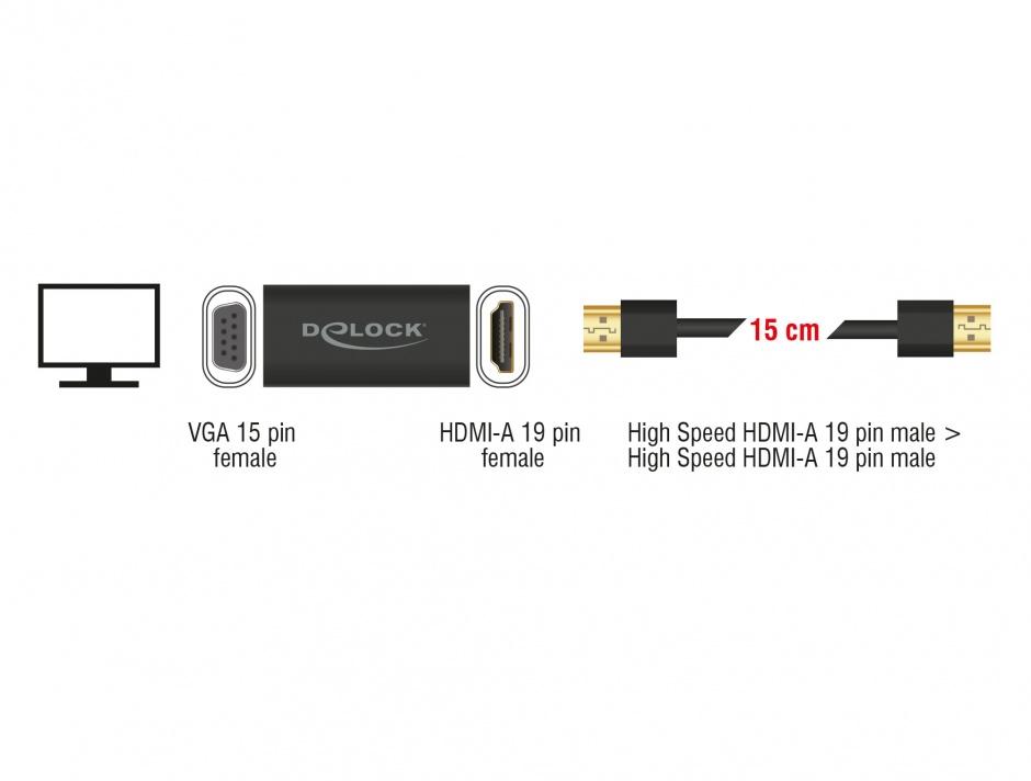 Imagine Adaptor HDMI la VGA T-M carcasa metalica + cablu HDMI 15cm, Delock 65667