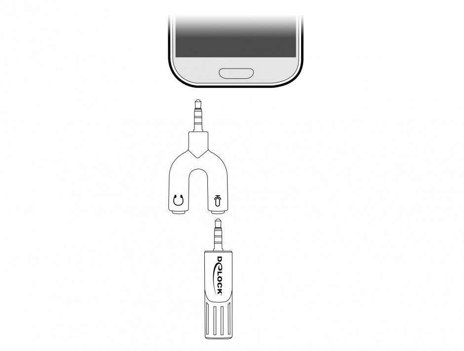 Imagine Microfon Uni-Directional pentru smartphone/tableta jack stereo 3.5mm 4 pini unghi 90 grade argintiu,