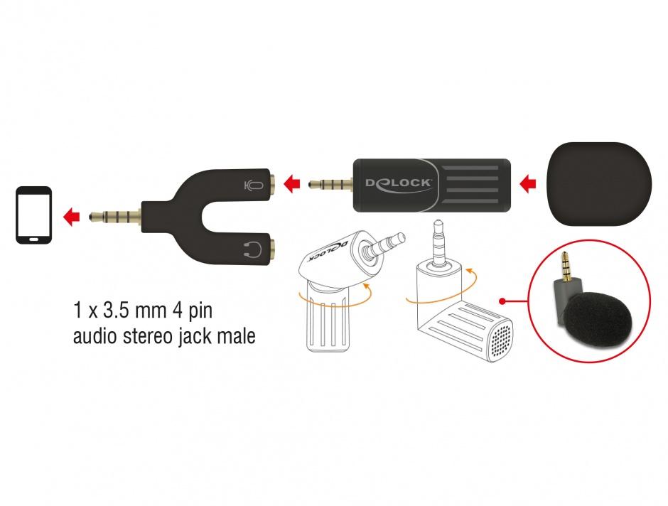 Imagine Microfon Uni-Directional pentru smartphone/tableta jack stereo 3.5mm 4 pini unghi 90 grade negru, De