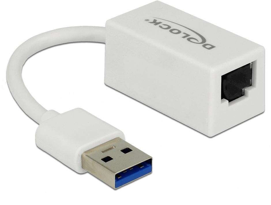 Imagine Adaptor USB 3.1-A Gen 1 la Gigabit LAN compact alb, Delock 65905