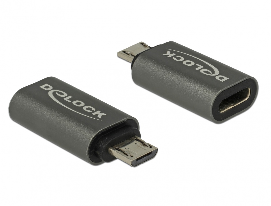 Imagine Adaptor micro USB la USB tip C 2.0 T-M Antracit, Delock 65927
