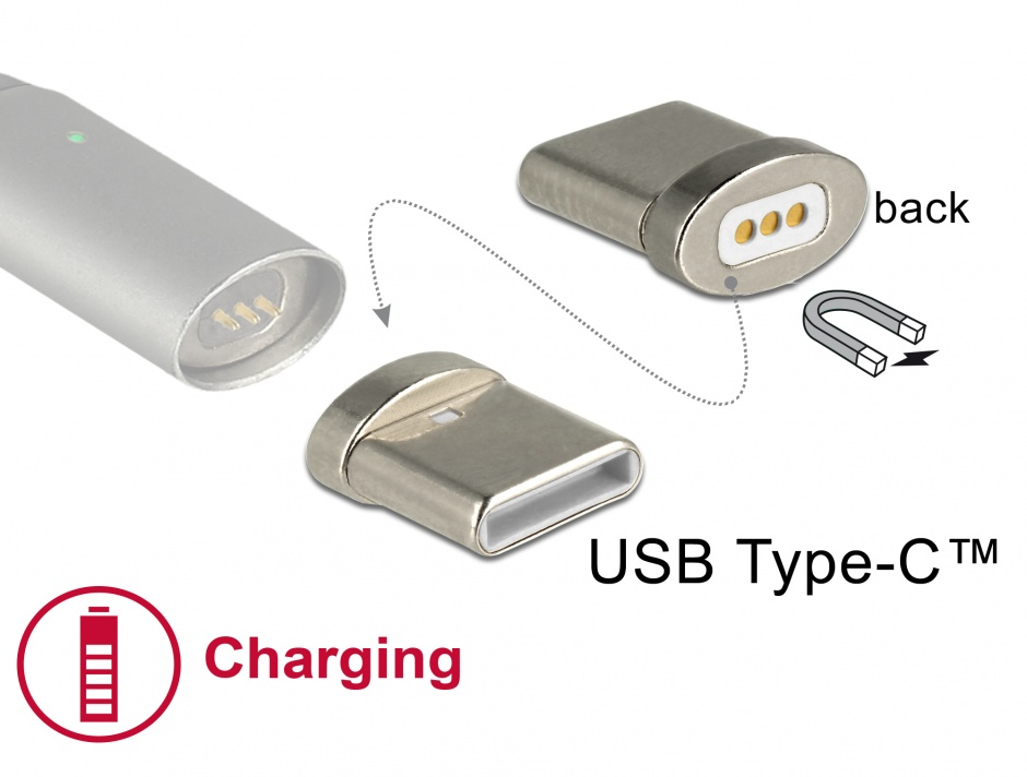 Imagine Conector magnetic pentru incarcare USB-C pentru 85705/85725, Delock 65930