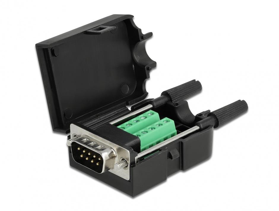 Imagine Terminal block 10 pini la serial D-SUB 9 pini tata cu suruburi + carcasa, Delock 66232
