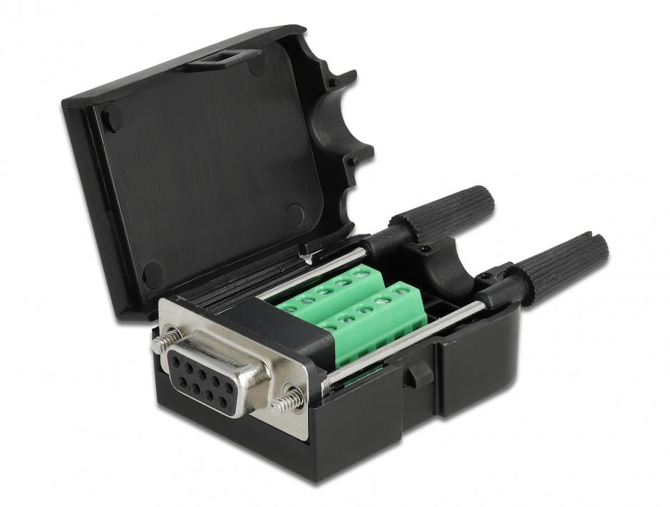 Imagine Terminal block 10 pini la serial D-SUB 9 pini mama cu suruburi + carcasa, Delock 66257