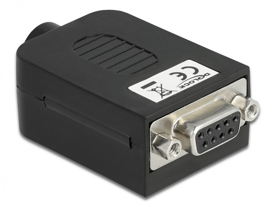 Imagine Terminal block 10 pini la serial D-SUB 9 pini mama + carcasa, Delock 66265