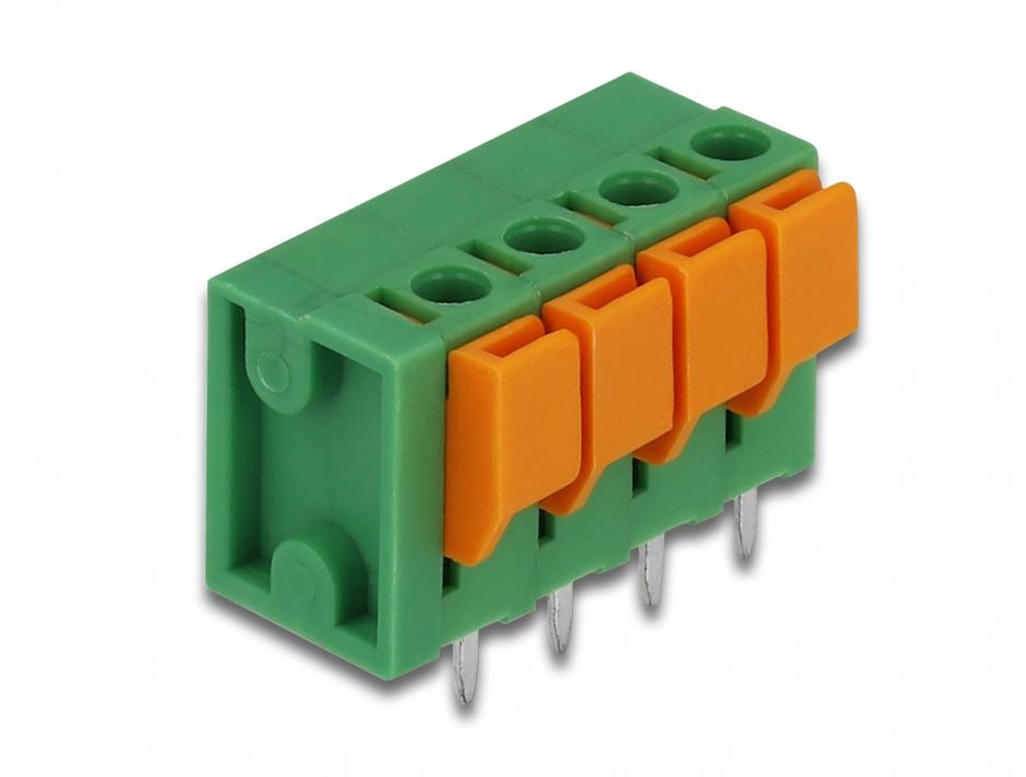 Imagine Set 4 buc bloc terminal pentru PCB 4 pini 5.08 mm pitch vertical, Delock 66270