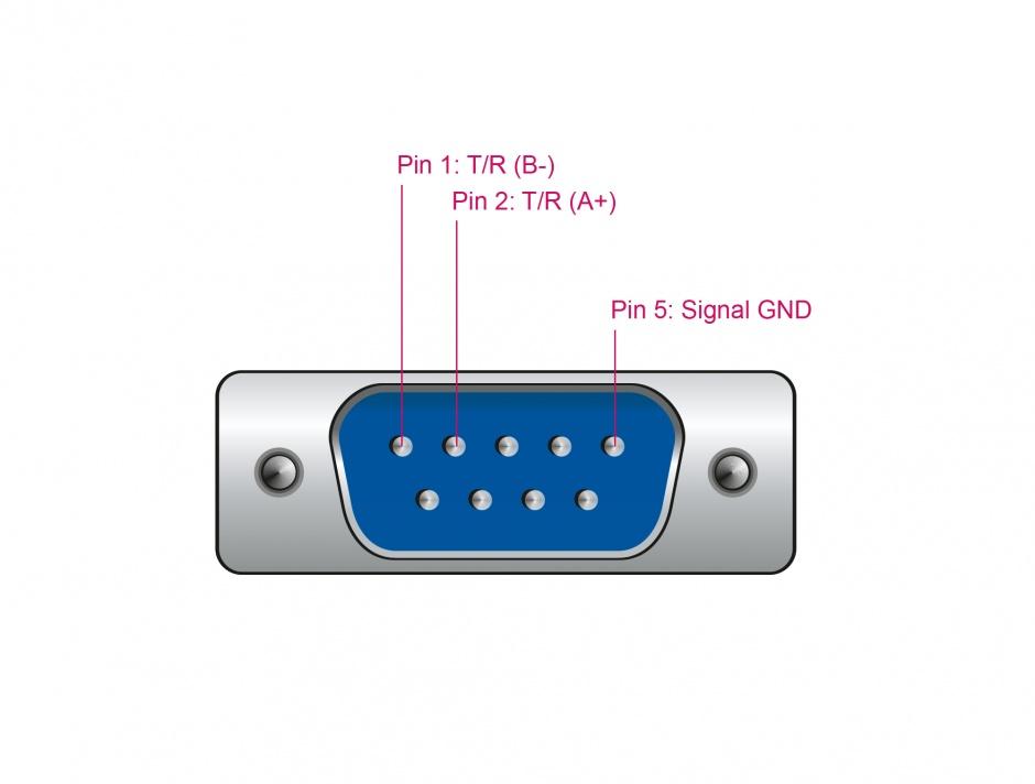 Imagine Adaptor USB la Serial RS-485 DB9 cu protectie 15 kV ESD, Delock 66283