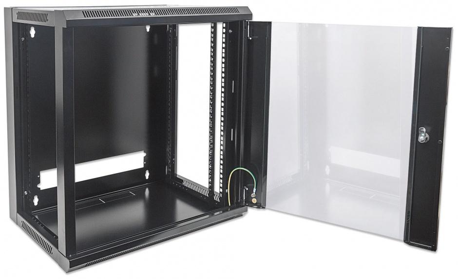 """Imagine Cabinet 19"""" fixare pe perete Flatpack 12U Black, Intellinet 711869"""