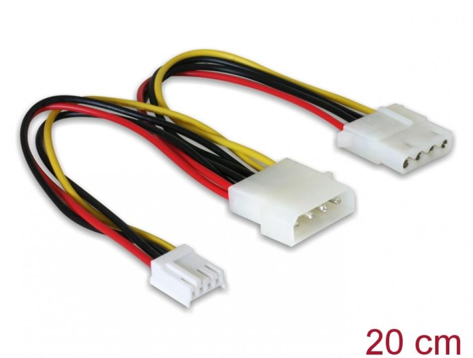 """Imagine Cablu alimentare Molex 4 pini la Molex 4 pini M + 3.5"""" FDD, Delock 82111"""