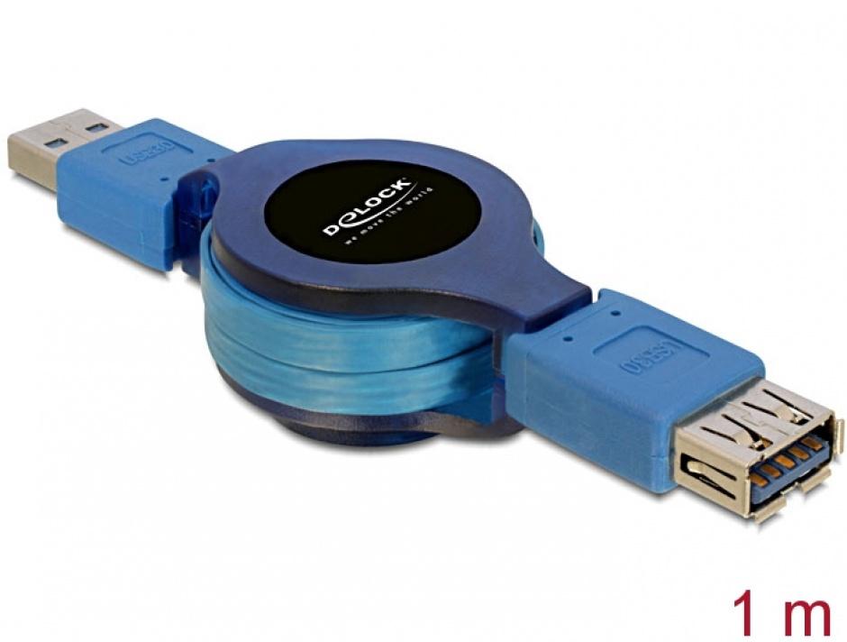 Imagine Cablu prelungitor USB 3.0 retractabil T-M 1m, Delock 82649