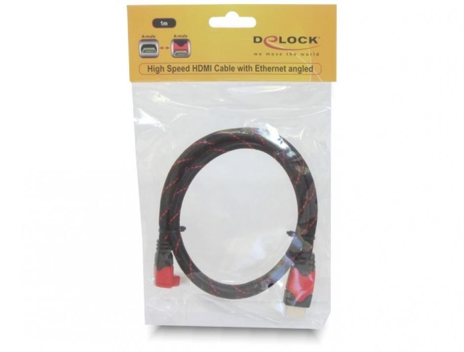 Imagine Cablu HDMI 4K tip A T-T vers 1.4 1m unghi rosu, Delock 82685