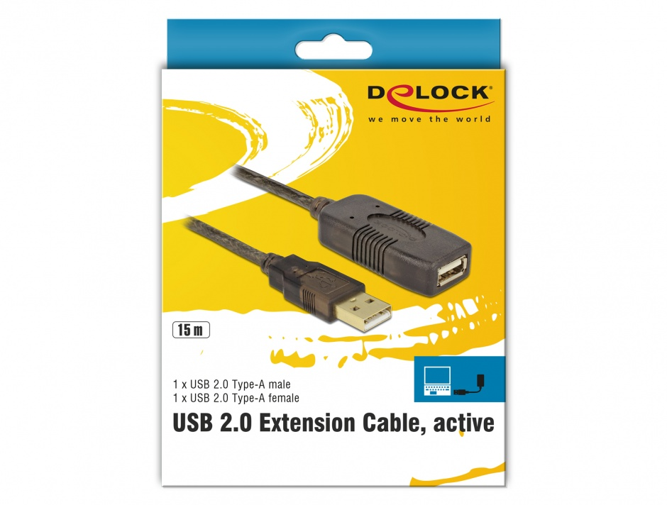 Imagine Cablu prelungitor activ USB 2.0 T-M 15m, Delock 82689