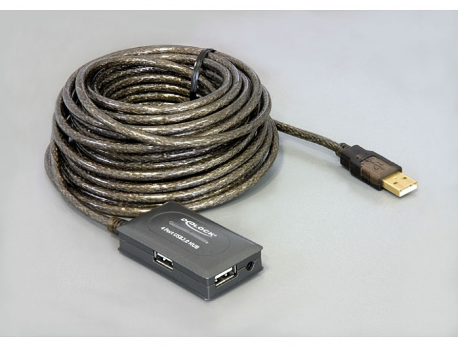 Imagine Cablu prelungitor activ USB 2.0 10m cu Hub 4 porturi, Delock 82748