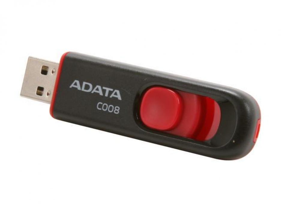 Imagine Stick USB 2.0 retractabil C008 16GB Negru&Rosu, ADATA