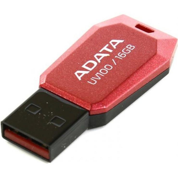 Imagine Stick USB 2.0 fara capac 16GB UV100 Rosu, ADATA