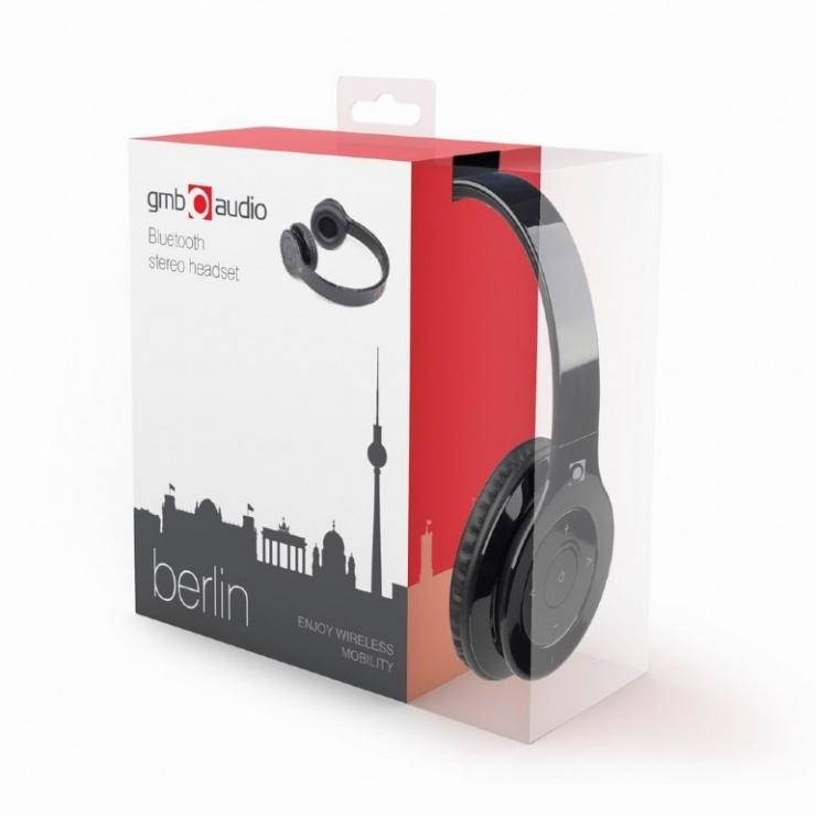 Imagine Casti Bluetooth cu microfon Berlin, Gembird BHP-BER-BK-5