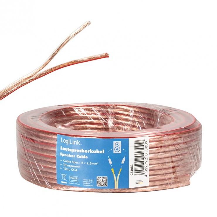Imagine Cablu pentru boxe/difuzor transparent 2 x 2.5mm 10m, Logilink CA1083