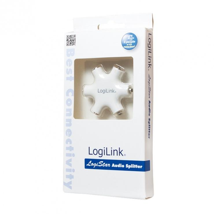 Imagine Multiplicator audio jack 3.5mm la 5 x jack 3.5mm Alb, Logilink CA1088