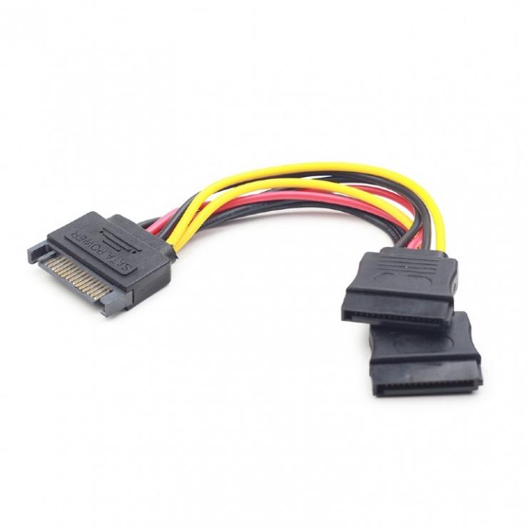 Imagine Cablu alimentare SATA la 2 x SATA 0.15m, Gembird CC-SATAM2F-01