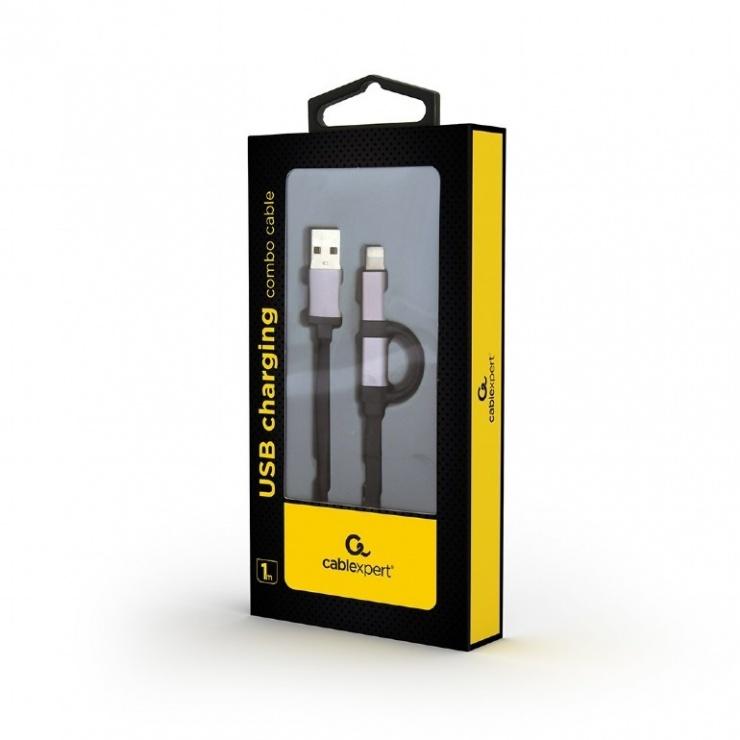 Imagine Cablu 2 in 1 USB 2.0 la micro USB-B + adaptor iPhone Lightning 1m Negru, Gembird CC-USB2-AM8PmB-1M-S