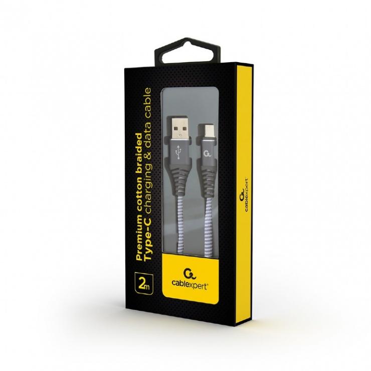 Imagine Cablu USB 2.0 la USB-C Premium Alb/Gri brodat 2m, Gembird CC-USB2B-AMCM-2M-WB2