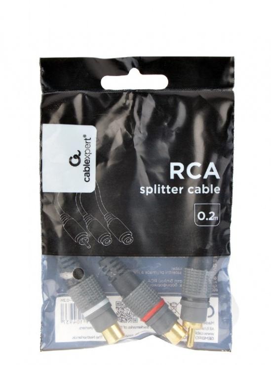 Imagine Adaptor audio jack 3.5mm la 2 x RCA T-M 20cm, Gembird CCAP-RCAM2F-0.2M