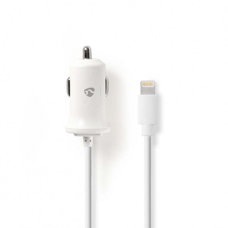Imagine Incarcator auto iPhone Lightning 2.4A 1m Alb, Nedis CCHAL240AWT