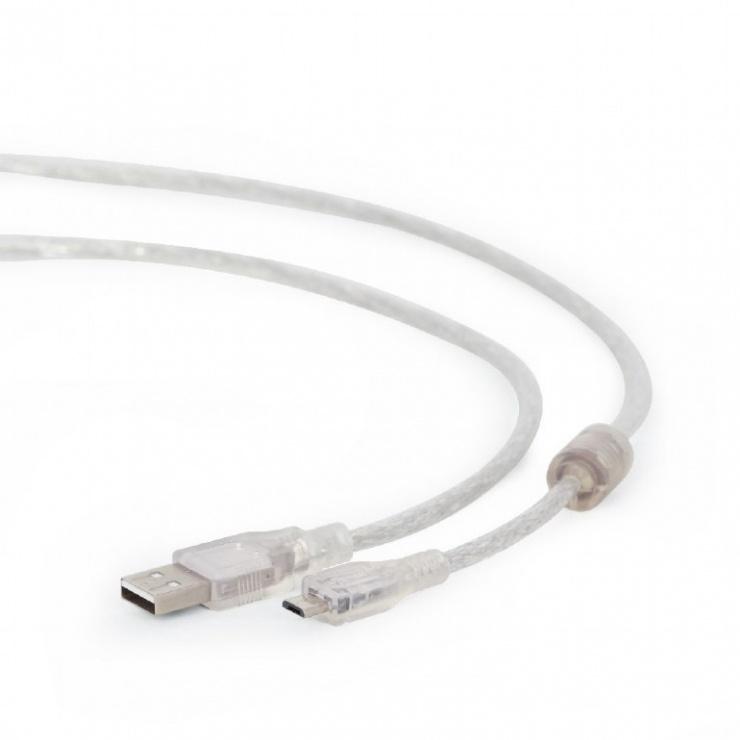 Imagine Cablu USB 2.0 la micro USB-B 1.8m transparent, Gembird CCP-mUSB2-AMBM-6-TR