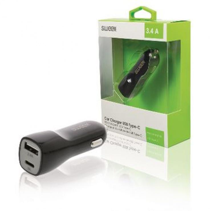 Imagine Incarcator auto USB-A + USB-C 3.4A Negru, Sweex CH-014BL