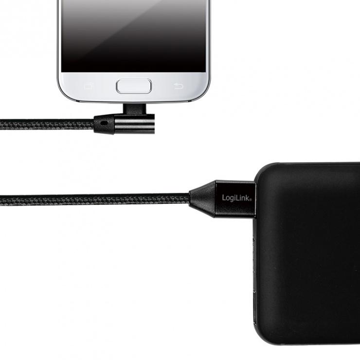 Imagine Cablu USB 2.0 la micro USB-B unghi 90 grade T-T 0.3m Negru, Logilink CU0141